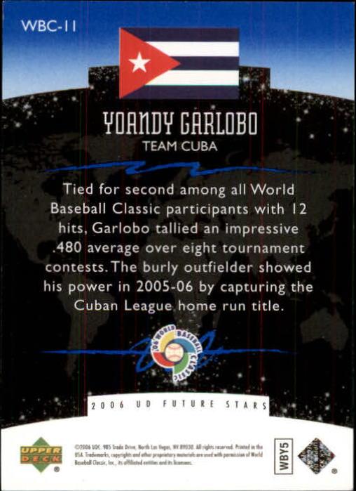 2006 Upper Deck Future Stars World Future Stars Blue #11 Yoandy Garlobo back image