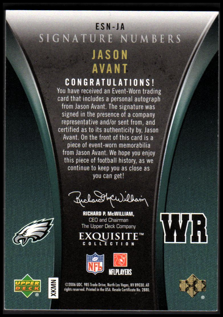 2006 Exquisite Collection Signature Numbers #ESNJA Jason Avant/81 back image