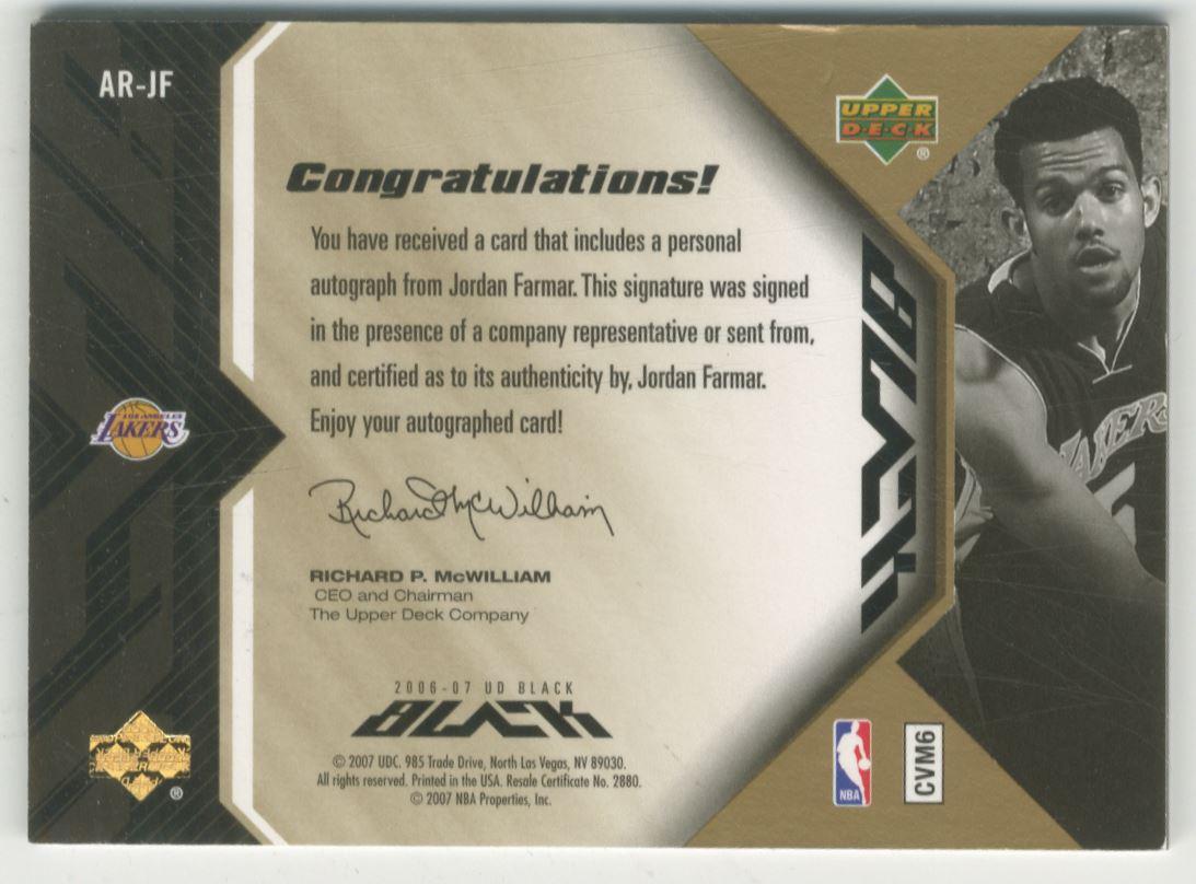 2006-07 UD Black Autographs Rookies 15 #JF Jordan Farmar back image