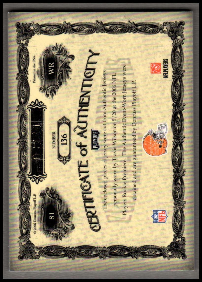 2006 Playoff National Treasures Gold #136 Travis Wilson JSY AU/30 back image