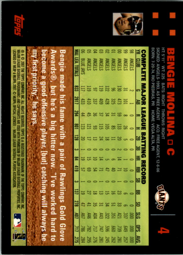 2007 Topps Red Back #4 Bengie Molina back image