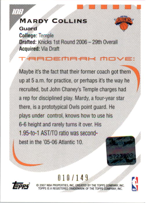 2006-07 Topps Trademark Moves #108 Mardy Collins AU/149 RC back image