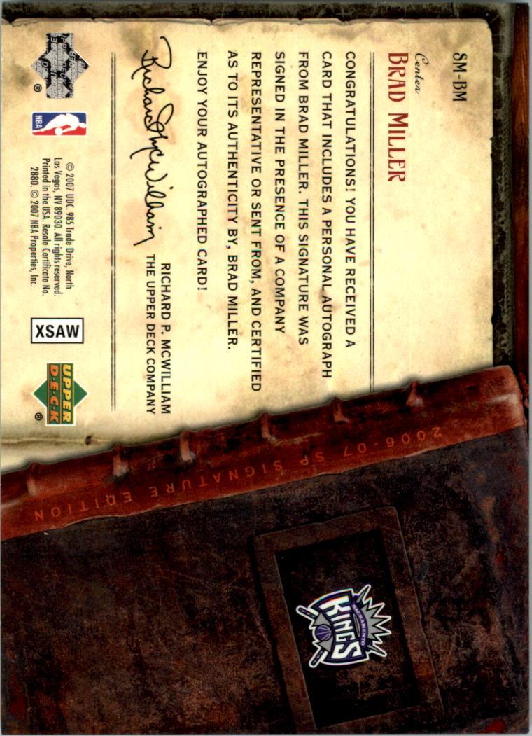 2006-07 SP Signature Edition Signature Style #BM Brad Miller back image