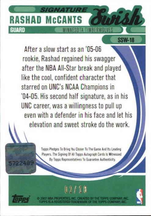 2006-07 Topps Trademark Moves Swish Autographs Wood Red #SSW18 Rashad McCants/10 back image