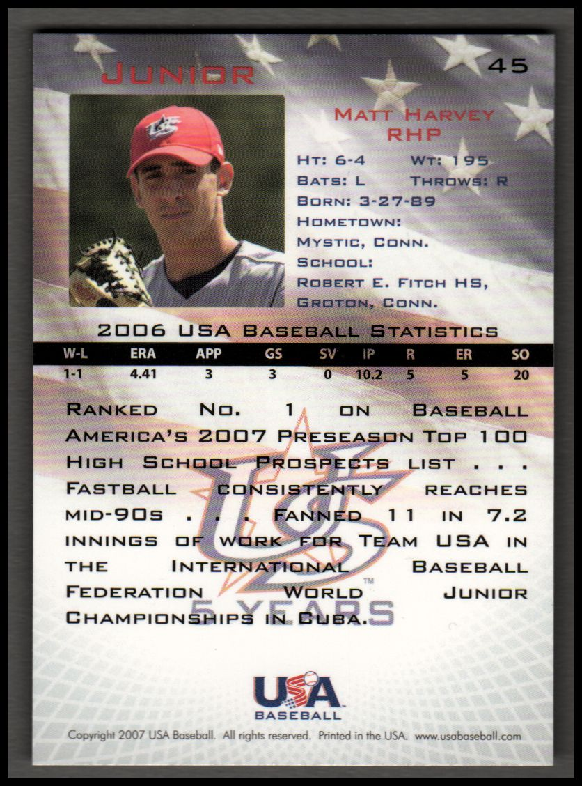 2006-07 USA Baseball #45 Matt Harvey back image