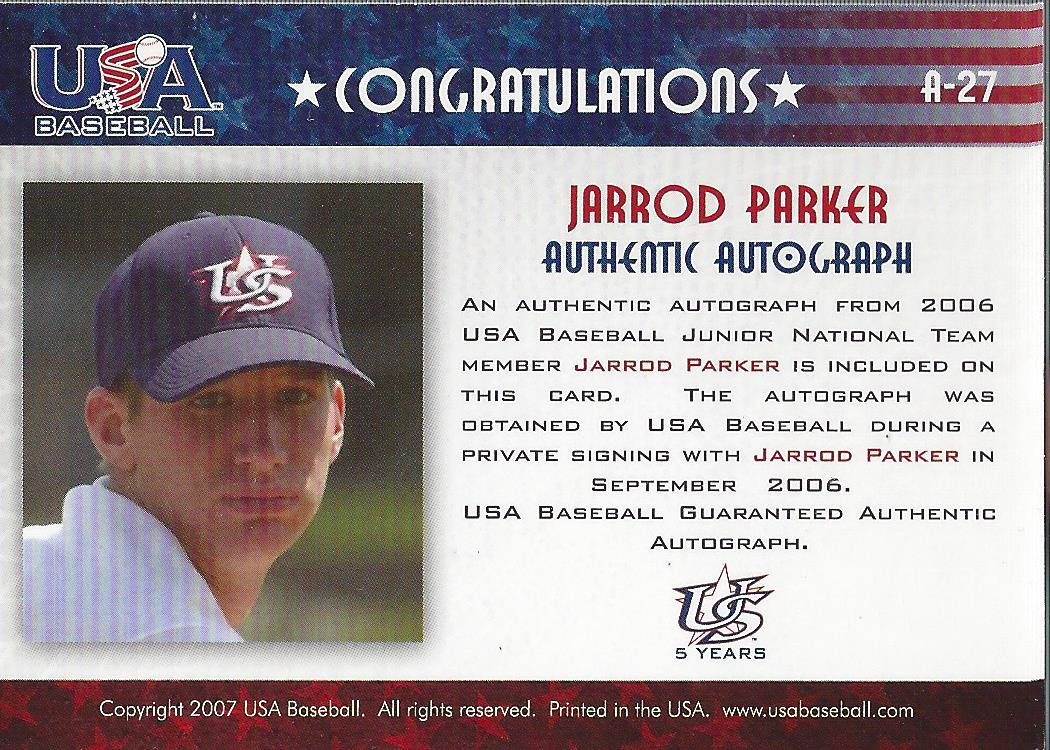 2006-07 USA Baseball Signatures Blue #27 Jarrod Parker back image