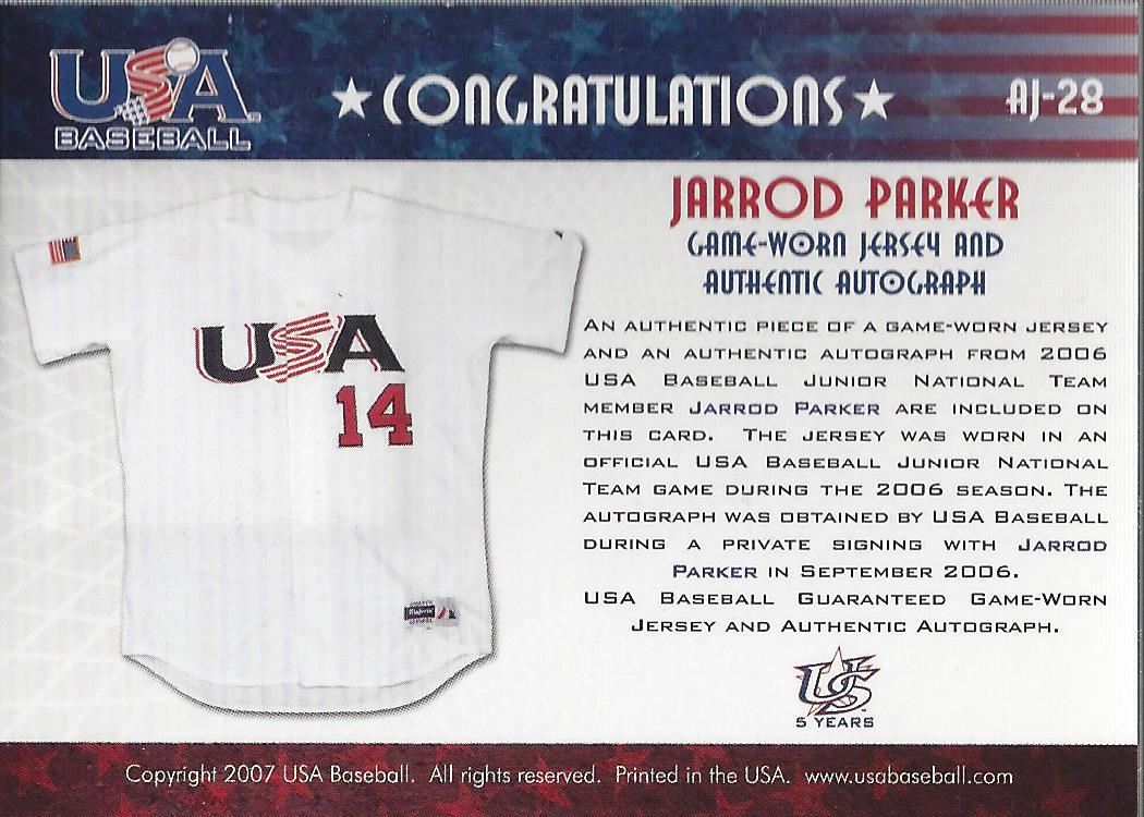 2006-07 USA Baseball Signatures Jersey Black #28 Jarrod Parker back image