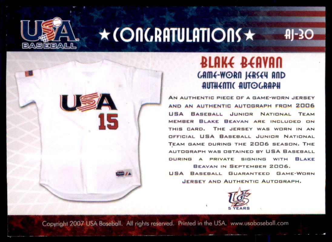 2006-07 USA Baseball Signatures Jersey Black #30 Blake Beavan back image