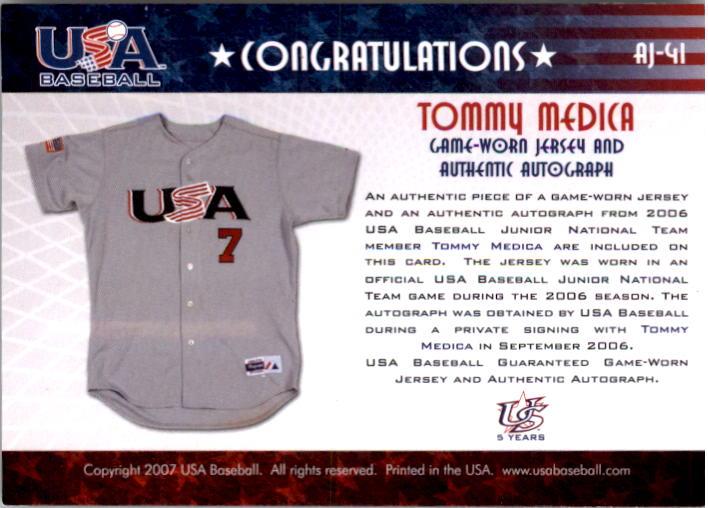 2006-07 USA Baseball Signatures Jersey Black #41 Tommy Medica back image