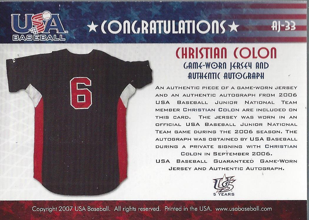 2006-07 USA Baseball Signatures Jersey Blue #33 Christian Colon back image