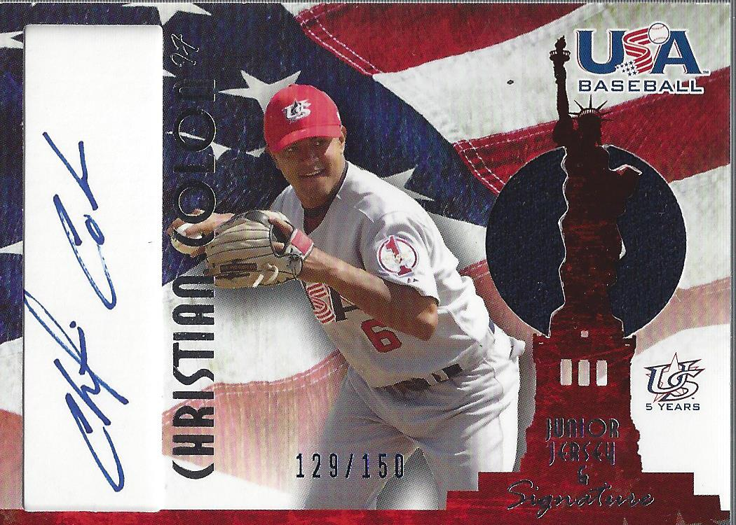 2006-07 USA Baseball Signatures Jersey Blue #33 Christian Colon