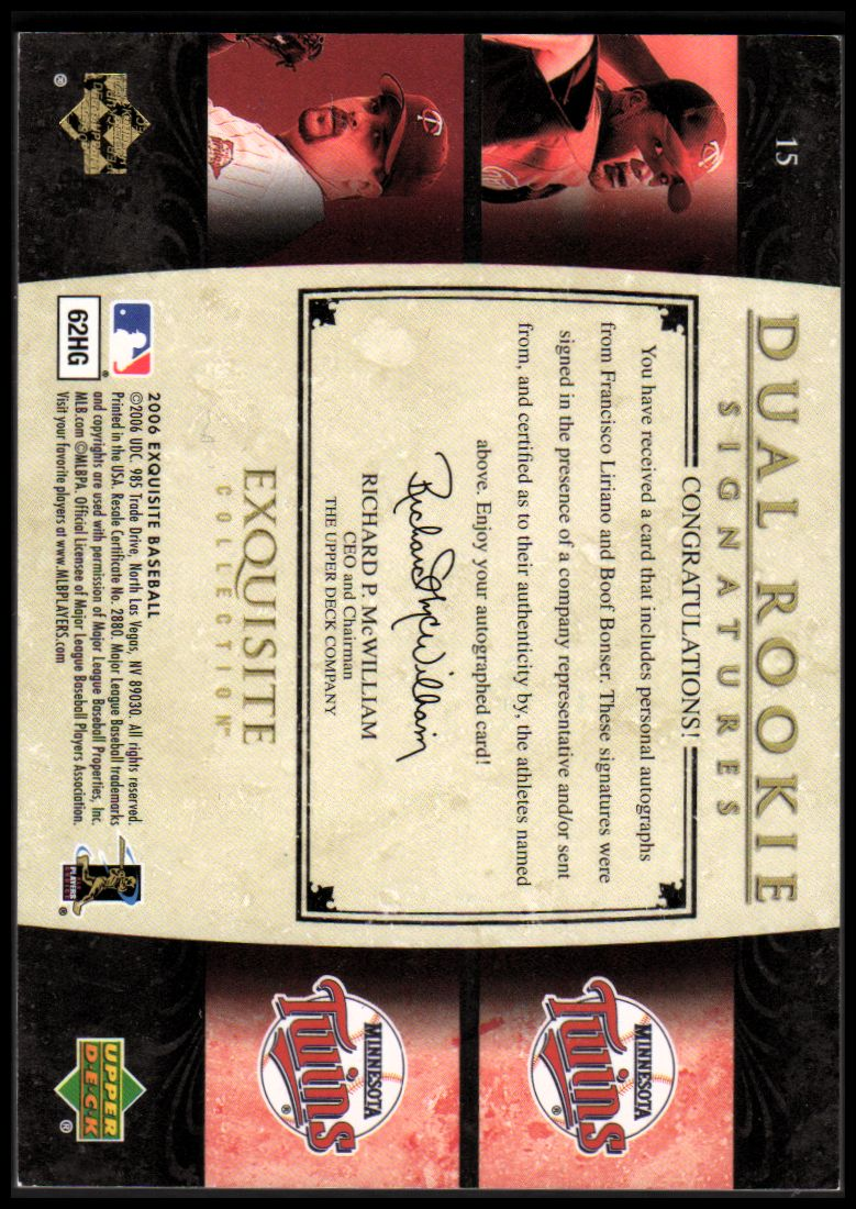2006 Exquisite Collection #15 Liriano (RC)/Bonser (RC) back image