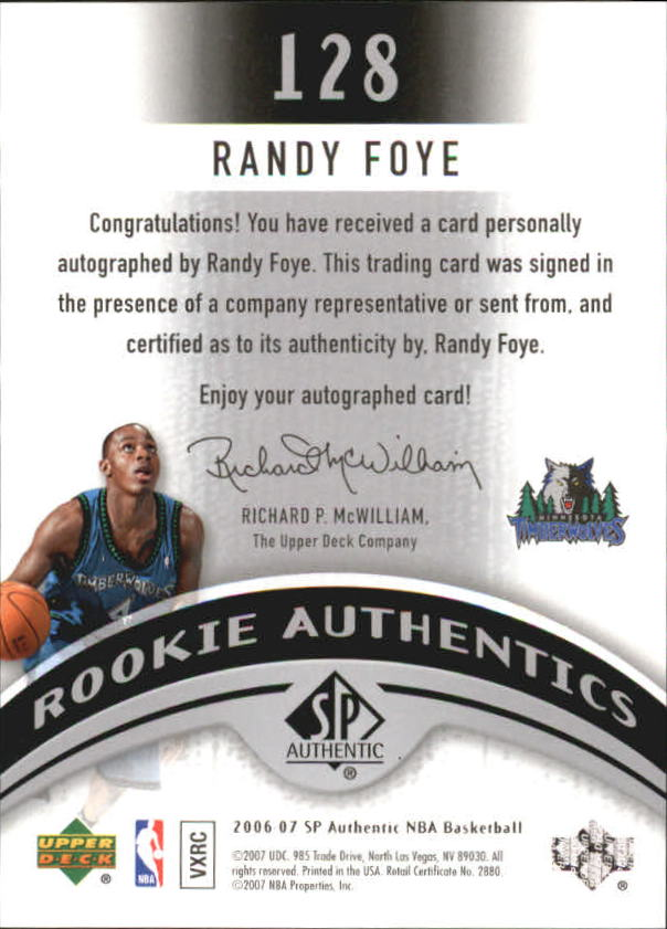2006-07 SP Authentic #128 Randy Foye AU RC back image