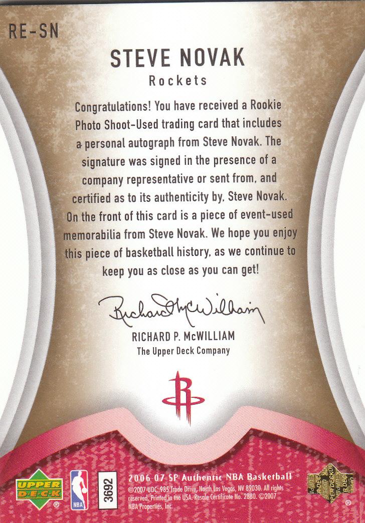 2006-07 SP Authentic Rookie Exclusives Jerseys Autographs #SN Steve Novak back image