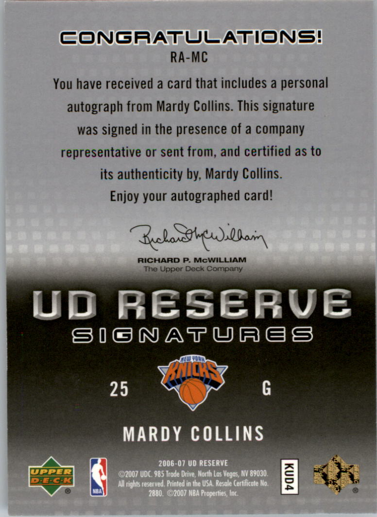 2006-07 UD Reserve Signatures #MC Mardy Collins back image