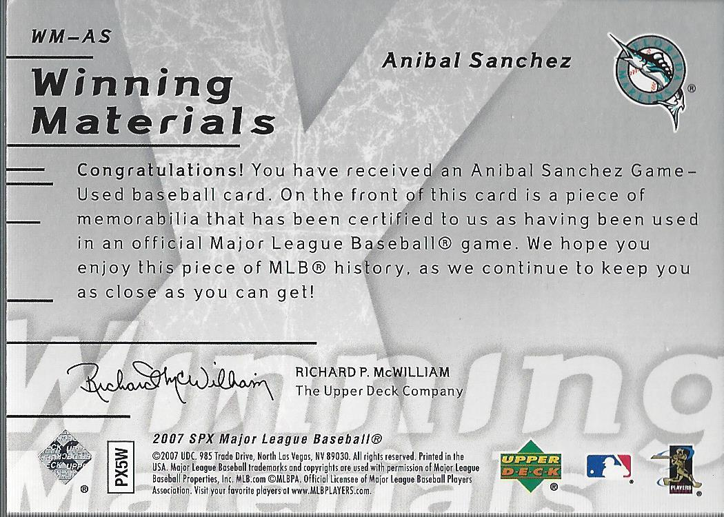 2007 SPx Winning Materials Patches Silver #AS Anibal Sanchez/99 back image