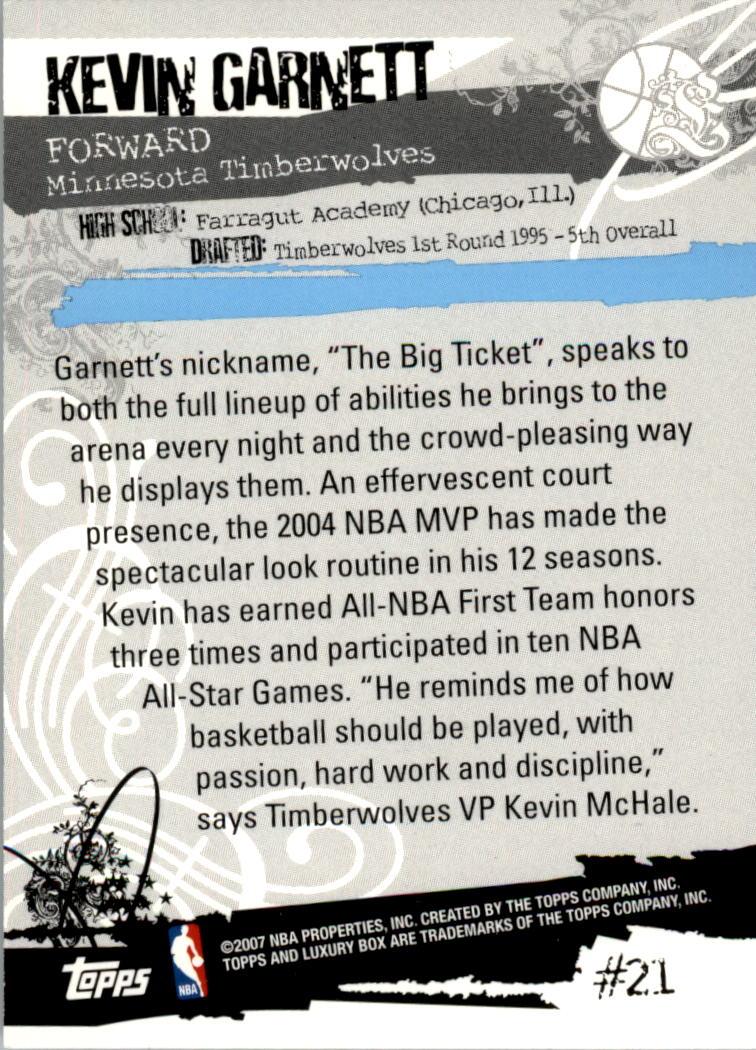 2006-07 Topps Luxury Box Green #21 Kevin Garnett back image