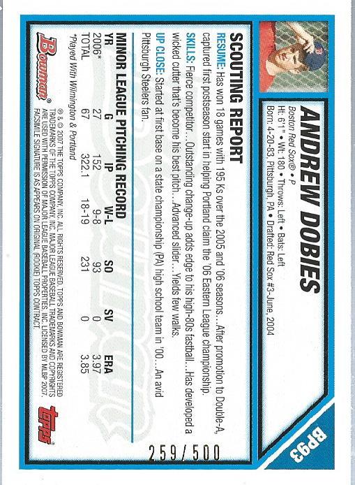 2007 Bowman Prospects Blue #BP93 Andrew Dobies back image