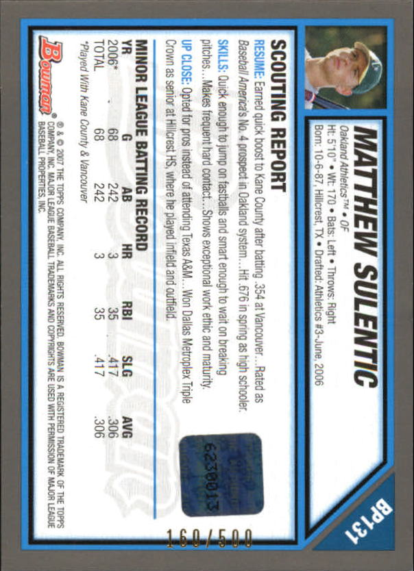 2007 Bowman Prospects Blue #BP131 Matthew Sulentic AU back image