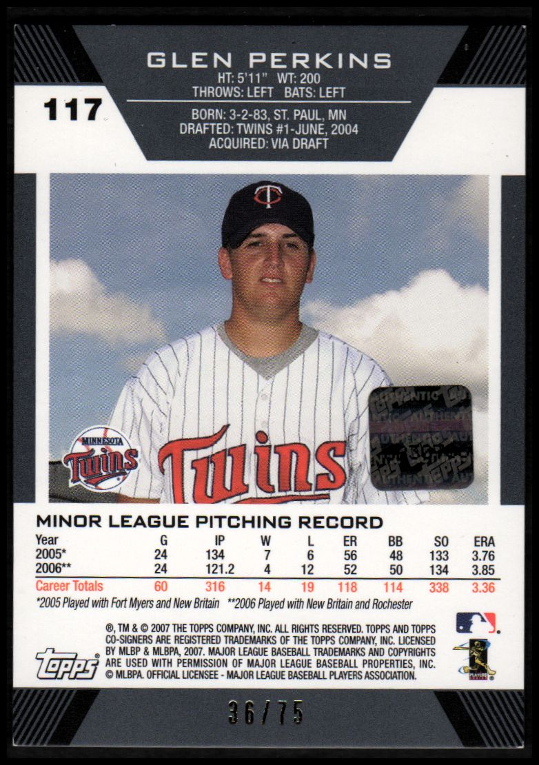 2007 Topps Co-Signers Hyper Silver Red #117 Glen Perkins AU back image