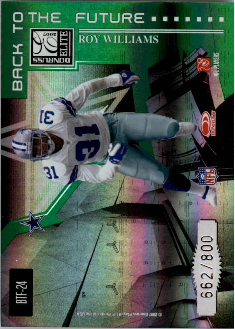 2007 Donruss Elite Back to the Future Green #24 Bill Bates/Roy Williams S back image