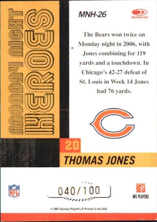 2007 Donruss Classics Monday Night Heroes Gold #26 Thomas Jones back image