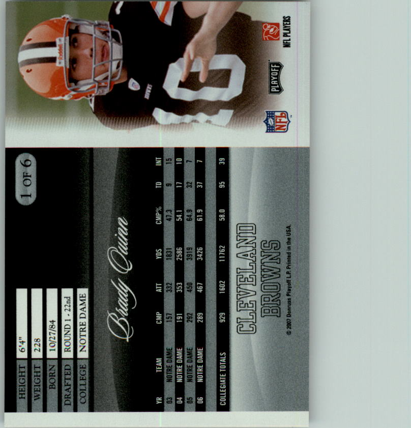 2007 Donruss Pepsi National Convention #1 Brady Quinn back image