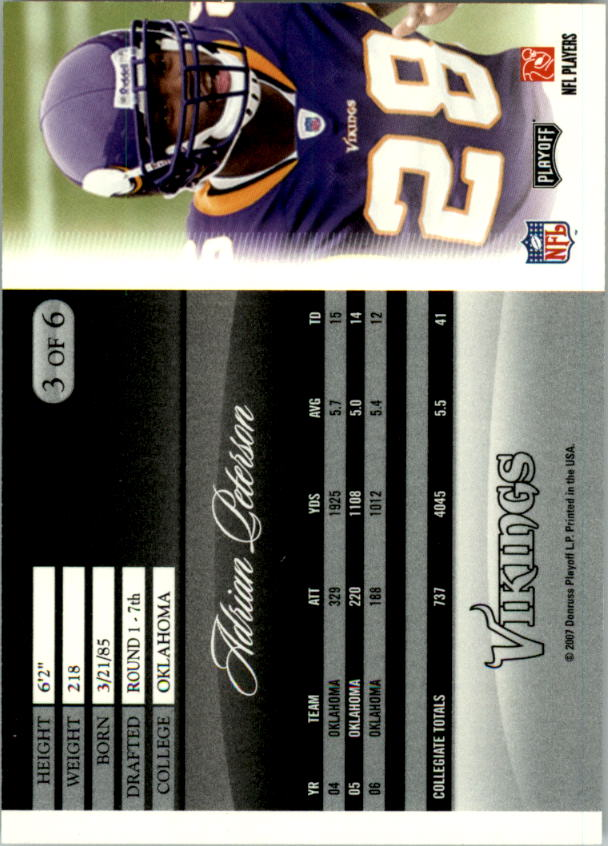 2007 Donruss Pepsi National Convention #3 Adrian Peterson back image