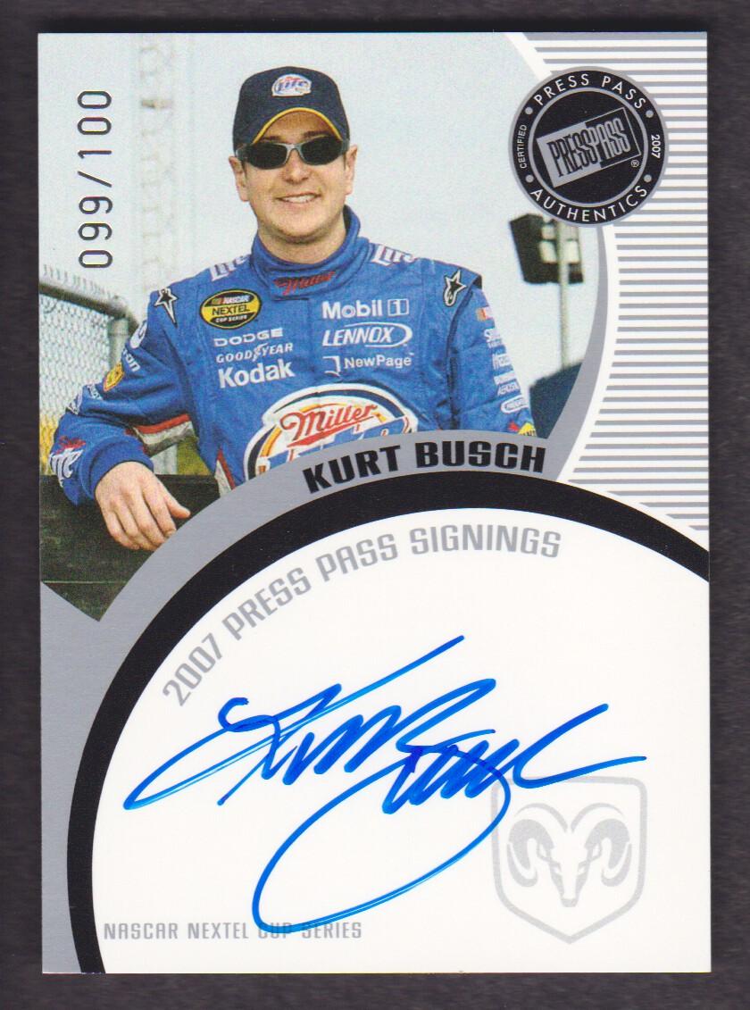 2007 Press Pass Signings Silver #8 Kurt Busch NC S/T