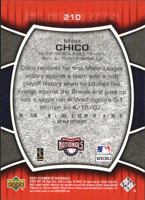 2007 Upper Deck Elements #210 Matt Chico (RC) back image