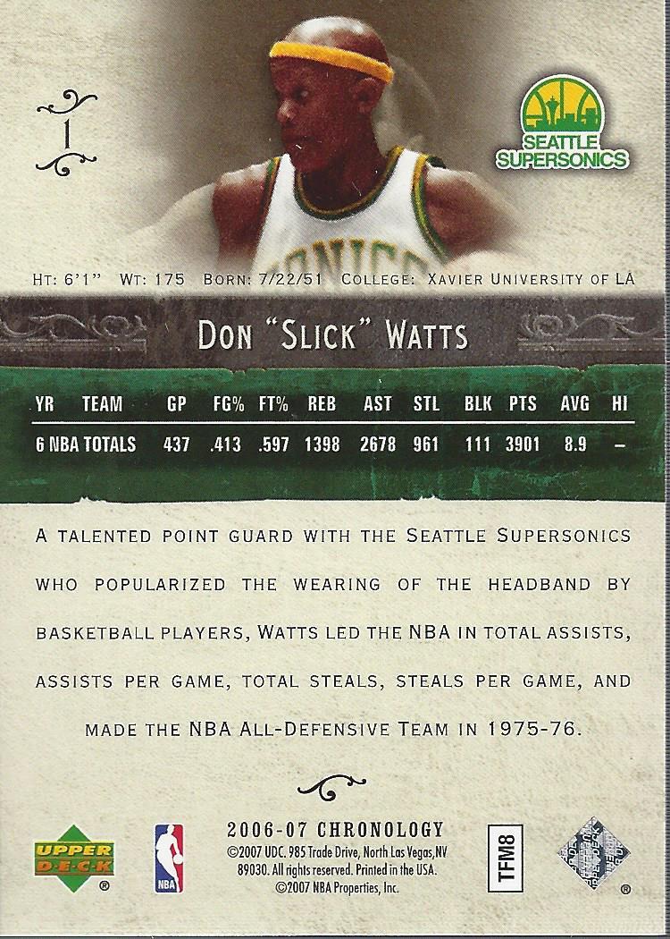 2006-07 Chronology #1 Slick Watts back image