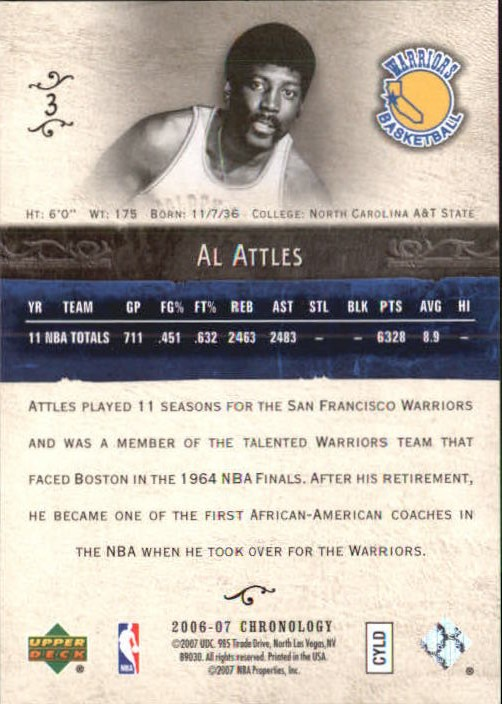 2006-07 Chronology #3 Al Attles back image