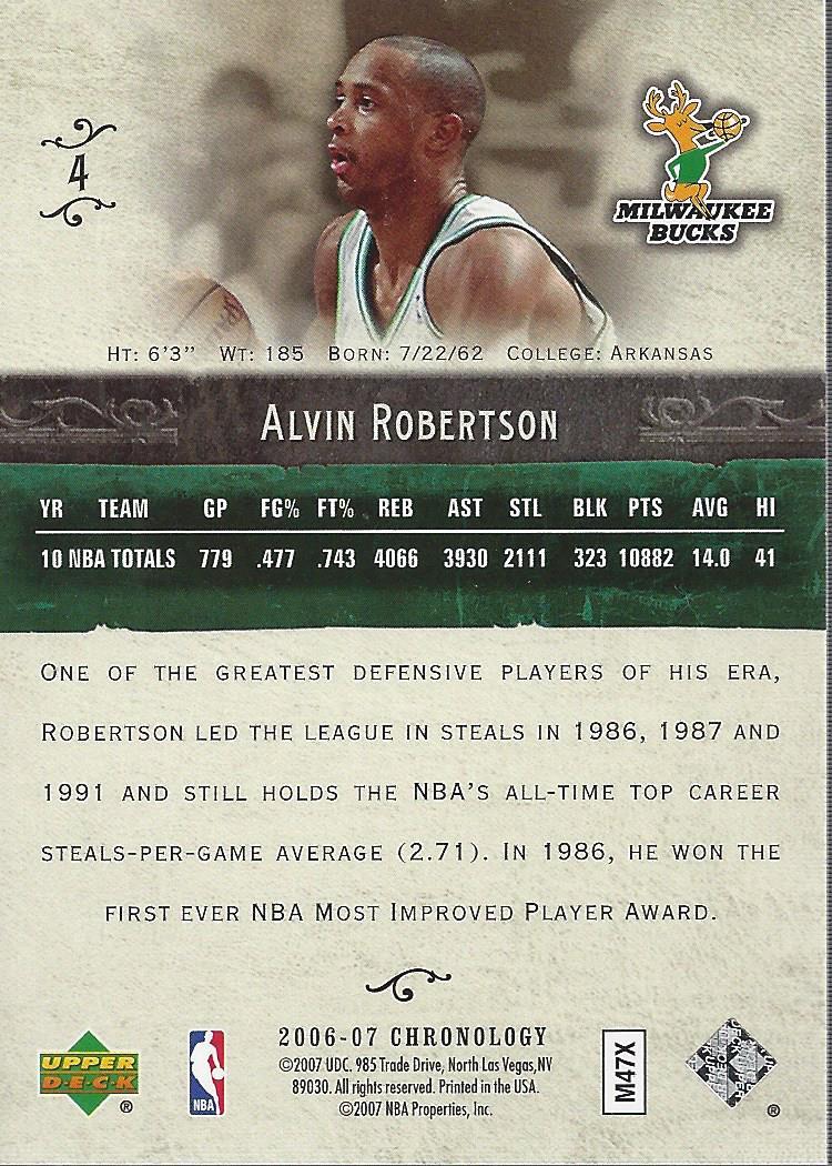 2006-07 Chronology #4 Alvin Robertson back image