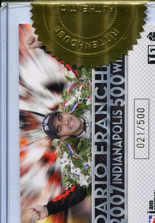 2007 Rittenhouse IRL #NNO Dario Franchitti Indy 500 Champ. back image