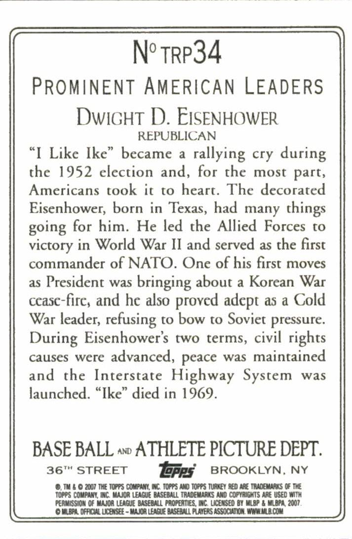 2007 Topps Turkey Red Presidents #TRP34 Dwight D. Eisenhower back image