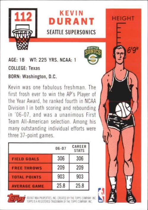 2007-08 Topps 1957-58 Variations #112 Kevin Durant back image