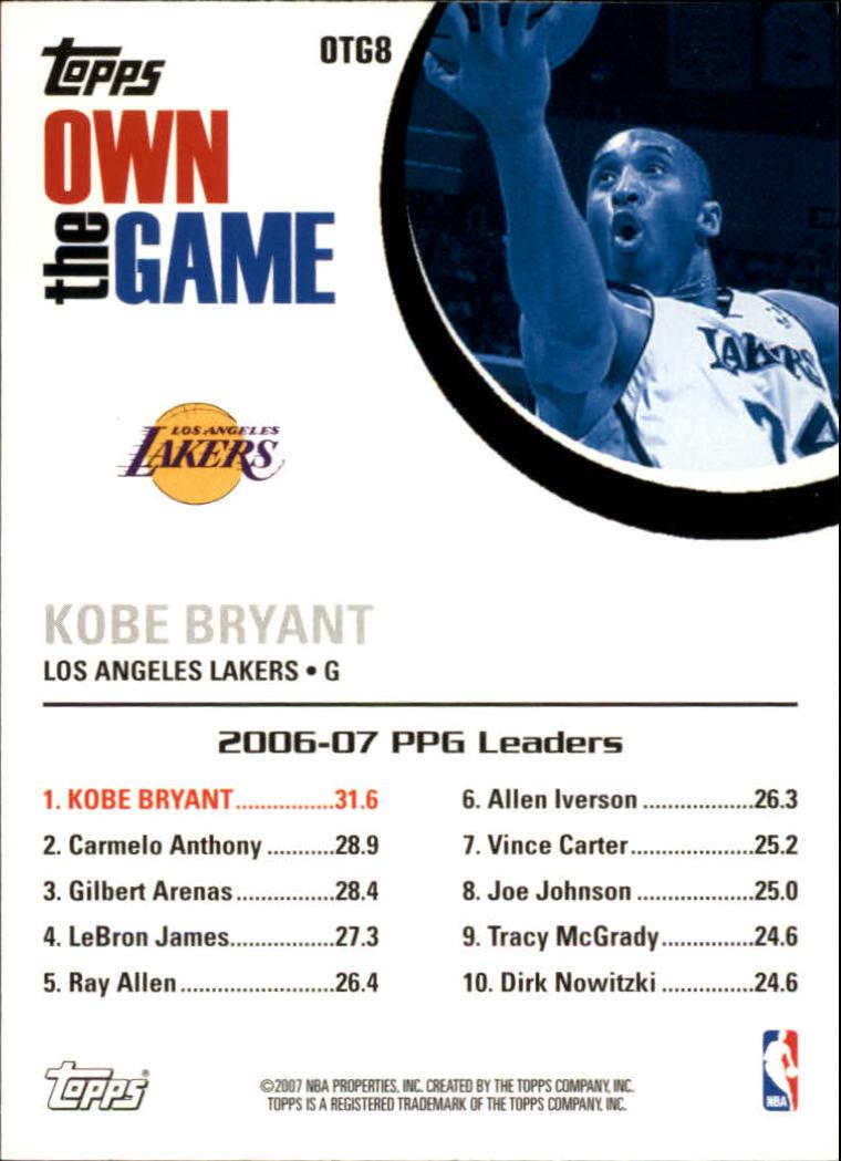 2007-08 Topps Own the Game #OTG8 Kobe Bryant back image