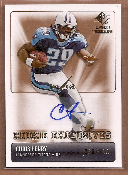 2007 SP Rookie Threads Rookie Exclusive Autographs #RECH Chris Henry RB