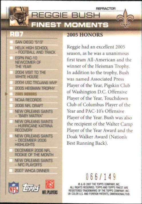 2007 Finest Reggie Bush Finest Moments Refractors #7 Reggie Bush back image