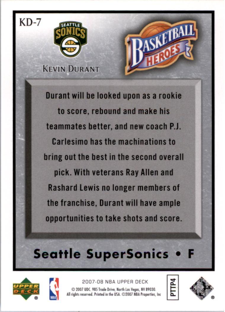 2007-08 Upper Deck NBA Heroes #KD7 Kevin Durant back image
