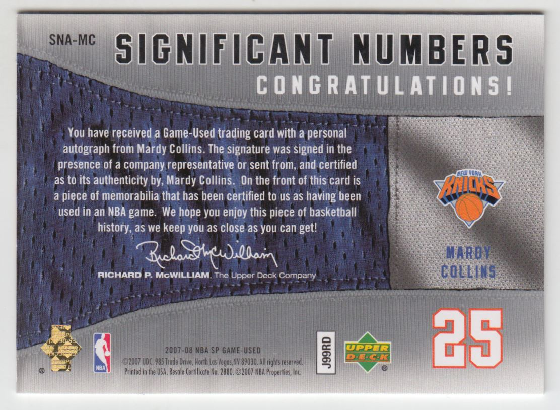 2007-08 SP Game Used Significant Numbers Autographs #MC Mardy Collins/25 back image