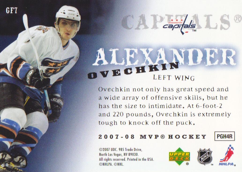 2007-08 Upper Deck MVP Game Faces #GF7 Alexander Ovechkin back image