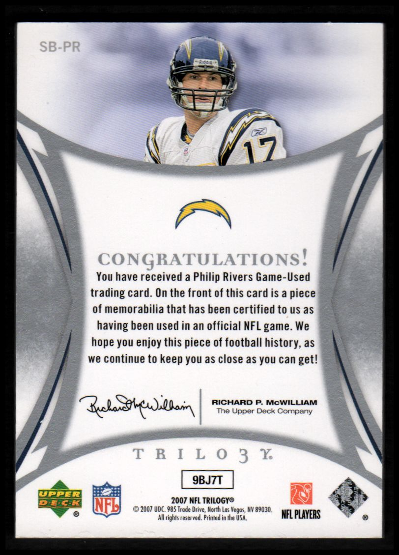 2007 Upper Deck Trilogy Sunday Best Jersey Patch Hologold #PR Philip Rivers back image
