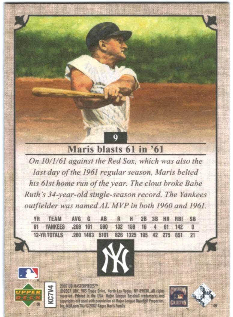 2007 UD Masterpieces #9 Roger Maris back image