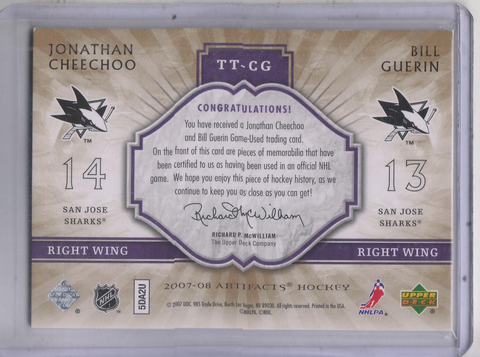 2007-08 Artifacts Tundra Tandems #TTCG Jonathan Cheechoo/Bill Guerin back image