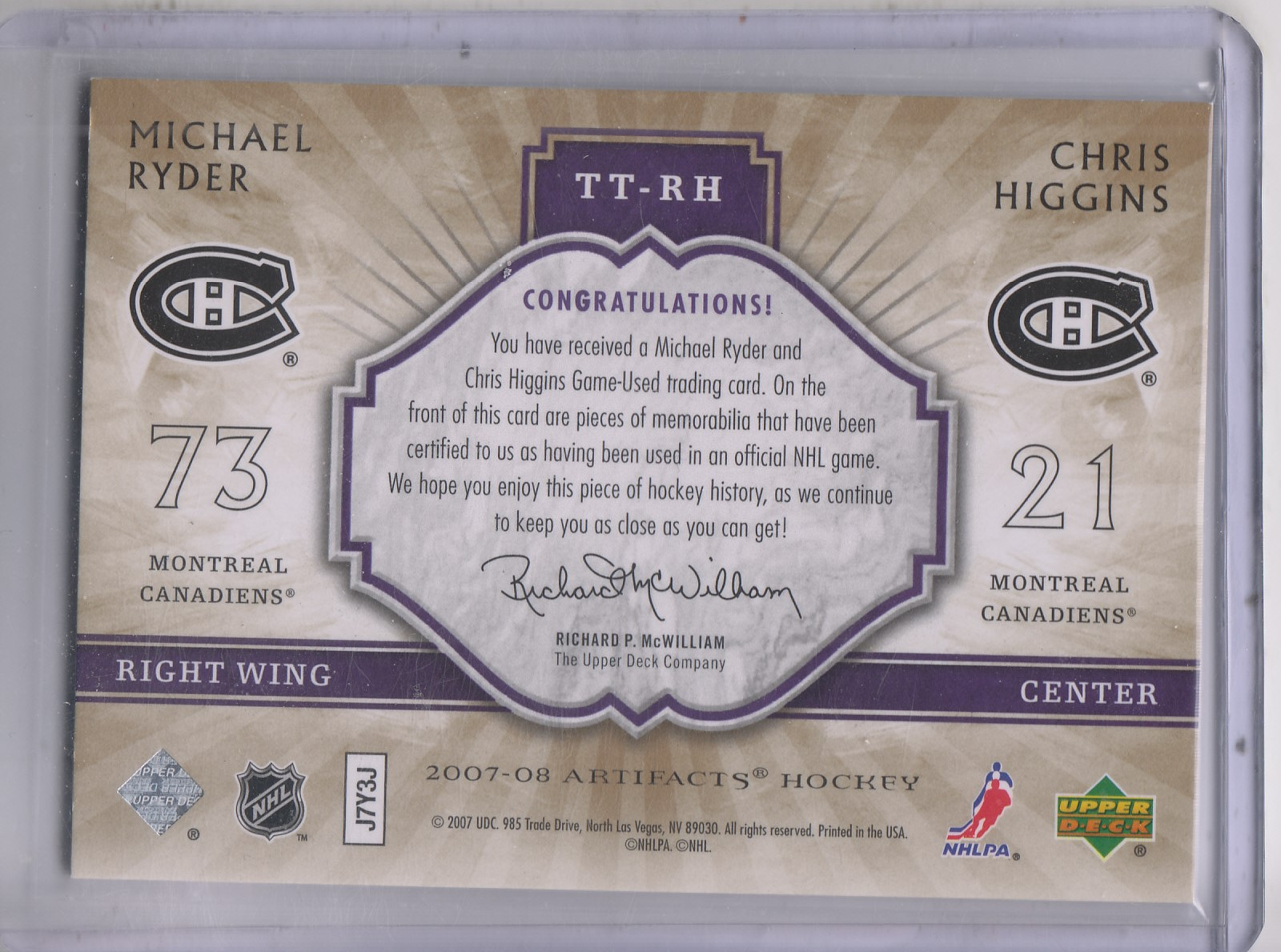 2007-08 Artifacts Tundra Tandems #TTRH Michael Ryder/Chris Higgins back image