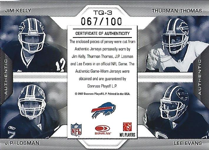 2007 Leaf Limited Team Threads Quads #3 Jim Kelly/Thurman Thomas/J.P. Losman/Lee Evans back image