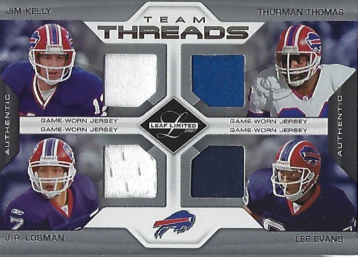 2007 Leaf Limited Team Threads Quads #3 Jim Kelly/Thurman Thomas/J.P. Losman/Lee Evans