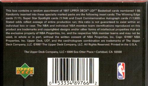 1996-97 UD3 Basketball Hobby Pack back image