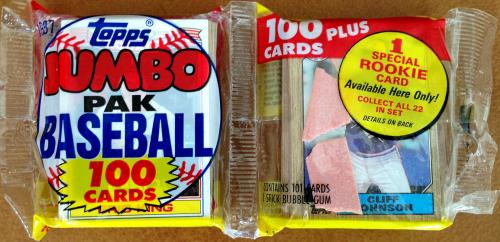 1987 Topps Baseball Jumbo Pack